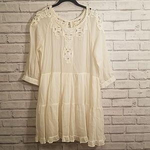 Free People Ivory Aztec Lace Tunic Dress EUC Sz M